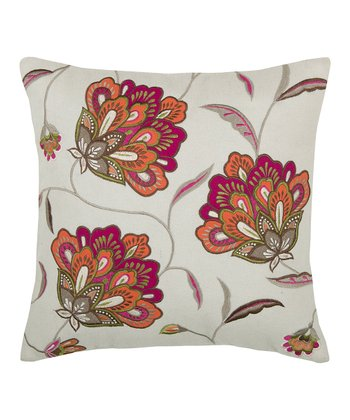 Pink & Natural Floral Transitional Pillow