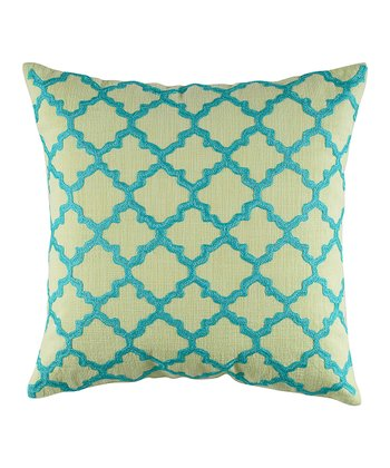 Lime Green & Aqua Lattice Throw Pillow