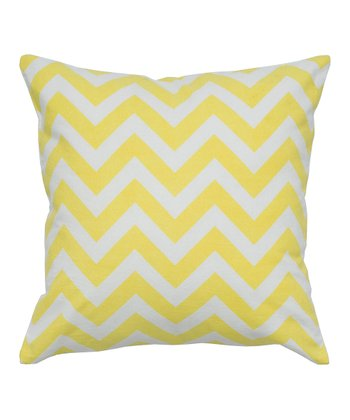 Yellow & White Zigzag Contemporary Throw Pillow
