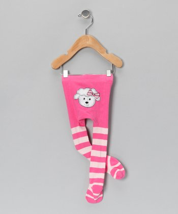 Pink Stripe Little Lamb Tights