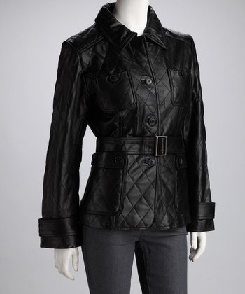 Black Quilted Leather Jacket - Women & Plus