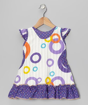 Purple Circle A-Line Dress - Girls