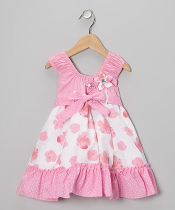 Pink Flower Bow Dress - Girls