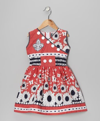 Red & Navy Daisy Surplice Dress - Girls
