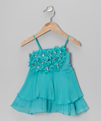 Teal Rhinestone Flower Tiered Dress - Toddler