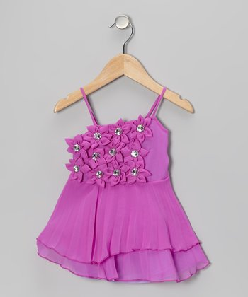 Purple Rhinestone Flower Tiered Dress - Girls