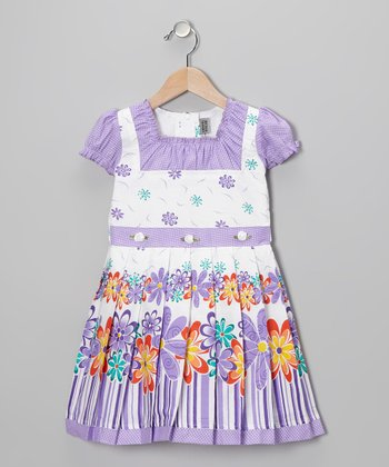 Lavender Flower Cap-Sleeve Dress - Girls