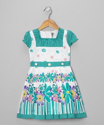 Teal Flower Cap-Sleeve Dress - Girls