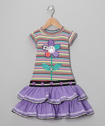 Purple Stripe Flower Ruffle Dress - Girls
