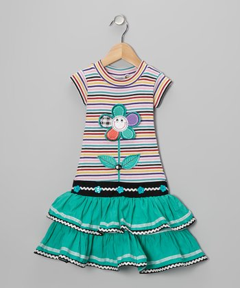 Teal Stripe Flower Ruffle Dress - Girls