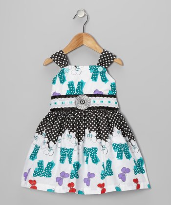Teal Polka Dot Bow Dress - Girls