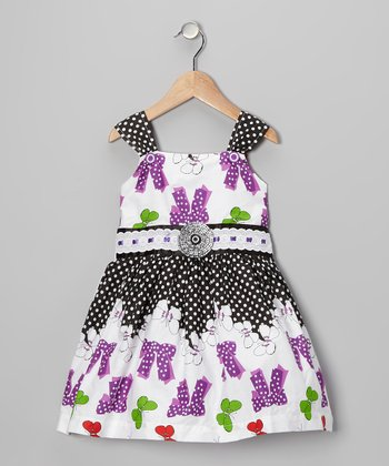 Purple Polka Dot Bow Dress - Girls