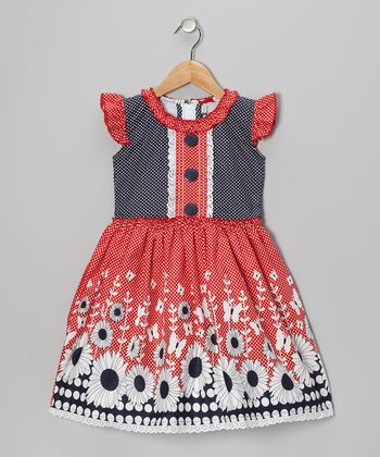 Navy & Red Daisy Angel-Sleeve Dress - Girls