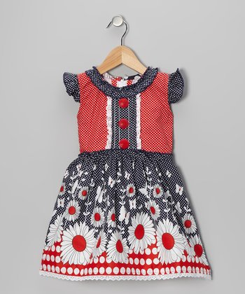 Red & Navy Daisy Angel-Sleeve Dress - Girls