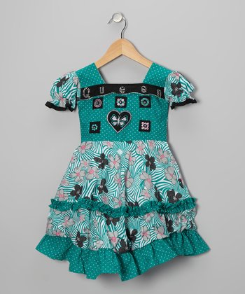 Teal Swirl Flower Babydoll Dress - Girls