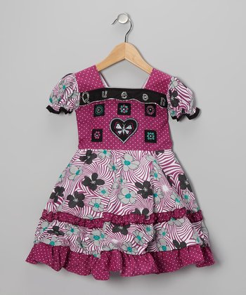 Purple Swirl Flower Babydoll Dress - Girls