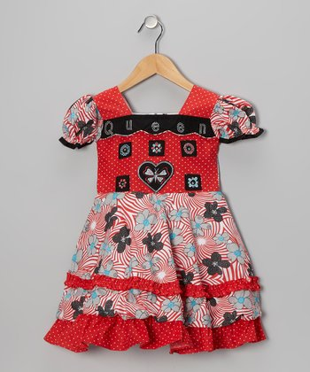 Red Swirl Flower Babydoll Dress - Girls