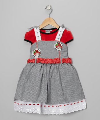 Red & Gray Layered Gingham Dress - Girls