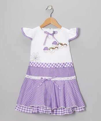 Purple Polka Dot Gingham Angel-Sleeve Dress - Girls
