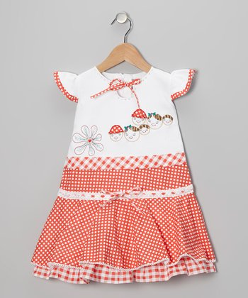 Coral Polka Dot Gingham Angel-Sleeve Dress - Girls