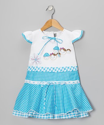 Blue Polka Dot Gingham Angel-Sleeve Dress - Girls