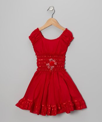 Red Flower Cap-Sleeve Dress - Girls