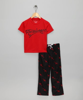 Red & Black Pajama Set - Toddler & Boys