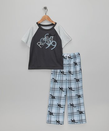 Gray & Light Blue Plaid Raglan Pajama Set - Boys