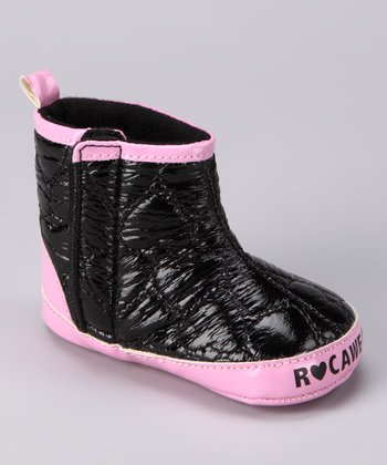 Black & Pink Quilted Boot