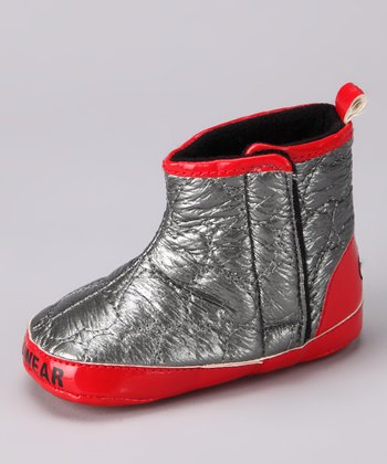 Gray & Red Quilted Boot