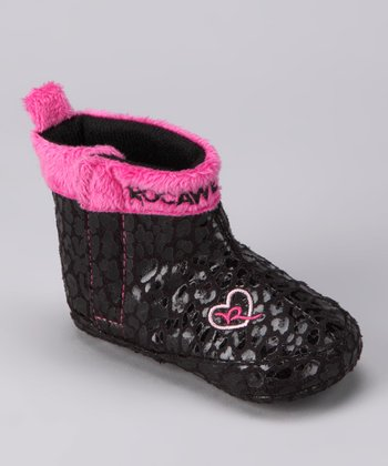 Black & Pink Leopard Boot