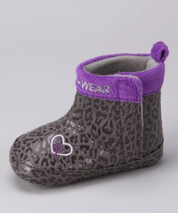 Gray & Purple Leopard Boot