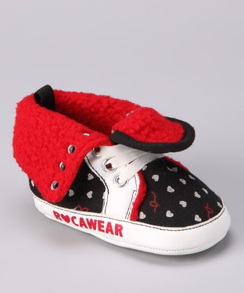 Rocawear Black & Red Fuzzy Heart Sneaker