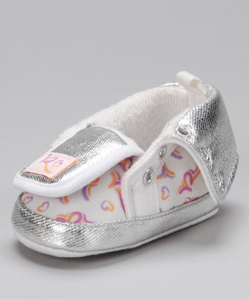 White & Silver Shiny Fold-Over Hi-Top Sneaker
