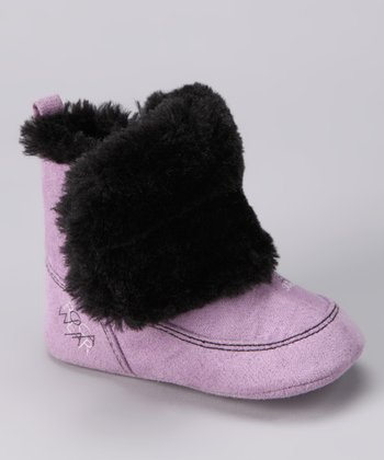 Purple & Black Furry Boot