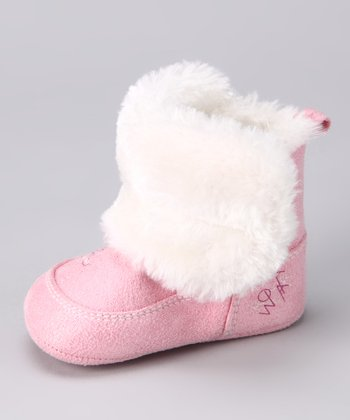 Pink & White Furry Boot