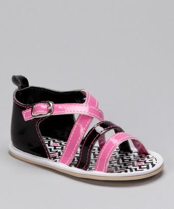 Black & Pink Zigzag Sandal