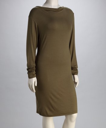 Olive Cowl Neck Dress - Plus