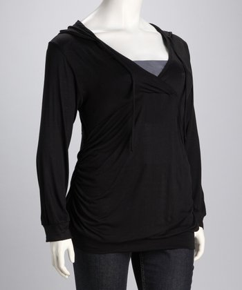 Black Hooded Surplice Top - Plus