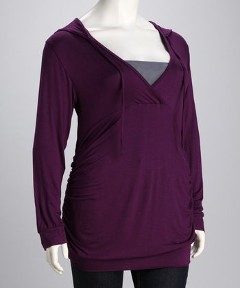 Purple Ruched Hooded Top - Plus