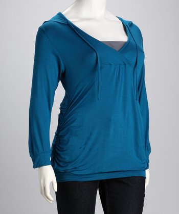 Teal Hooded Surplice Top - Plus
