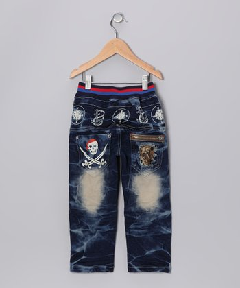 Denim Blue Distressed Pirate Jeans - Toddler & Boys