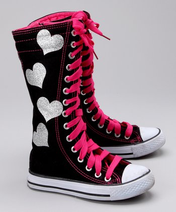 Black & Silver Heart Hi-Top Sneaker