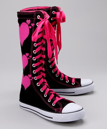 Black & Pink Hearts Hi-Top Sneaker