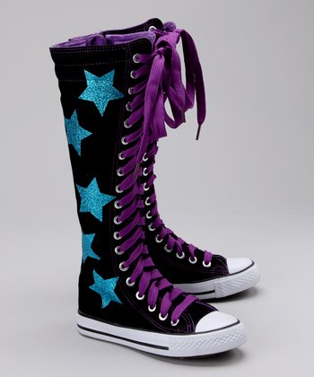 Black & Blue Stars Hi-Top Sneaker