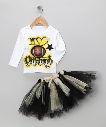 Black & Yellow 'Pittsburgh' Thermal & Tutu - Toddler & Girls