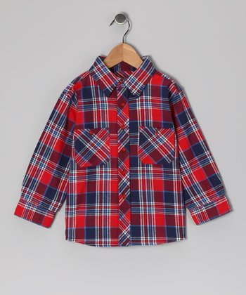 Red & Blue Plaid Ted Button-Up - Infant, Toddler & Boys