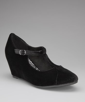 Soft Black Lena T-Strap Wedge
