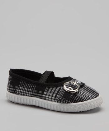 Black Plaid Cutie Strap Ballet Flat