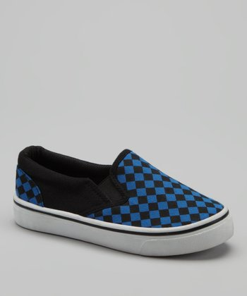 Blue Checkerboard Slip-On Sneaker